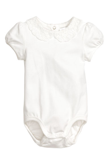 Lace-collar bodysuit - White -  | H&M CA 1